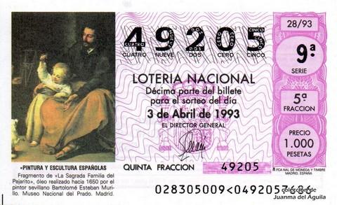 Décimo de Lotería 1993 / 28