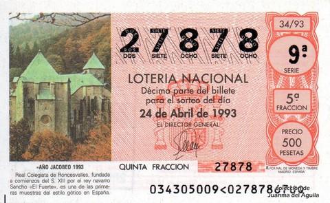 Décimo de Lotería 1993 / 34