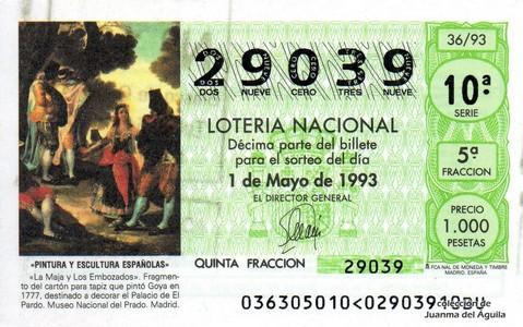 Décimo de Lotería 1993 / 36