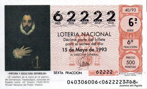 Décimo de Lotería 1993 / 40