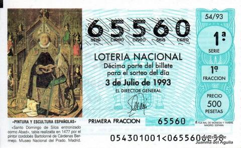 Décimo de Lotería 1993 / 54