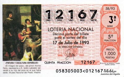 Décimo de Lotería 1993 / 58