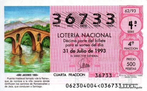Décimo de Lotería 1993 / 62