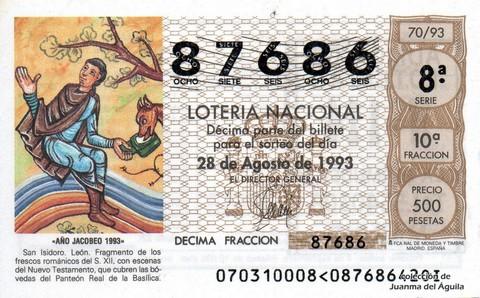Décimo de Lotería 1993 / 70