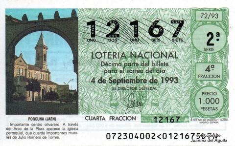 Décimo de Lotería 1993 / 72