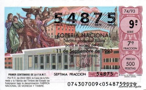 Décimo de Lotería 1993 / 74