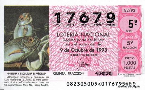 Décimo de Lotería 1993 / 82