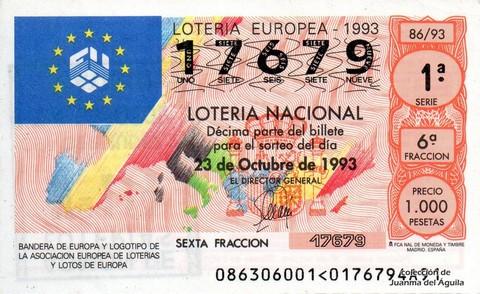 Décimo de Lotería 1993 / 86