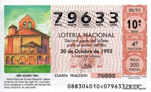 Décimo de Lotería 1993 / 88