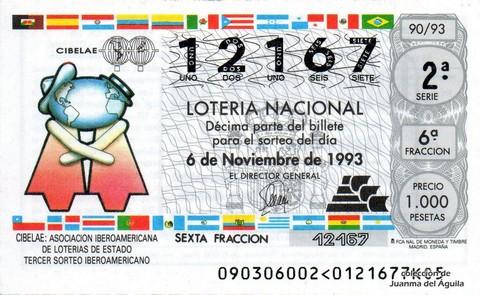 Décimo de Lotería 1993 / 90