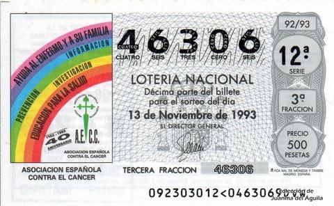 Décimo de Lotería 1993 / 92