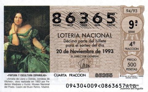 Décimo de Lotería 1993 / 94