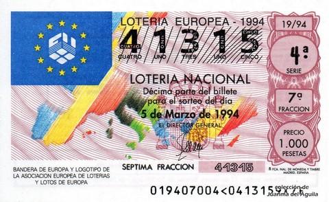Décimo de Lotería 1994 / 19