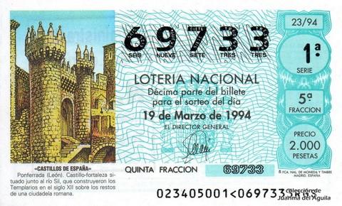Décimo de Lotería 1994 / 23