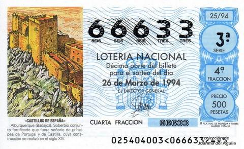 Décimo de Lotería 1994 / 25