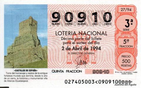 Décimo de Lotería 1994 / 27