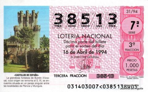 Décimo de Lotería 1994 / 31