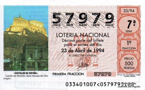 Décimo de Lotería 1994 / 33