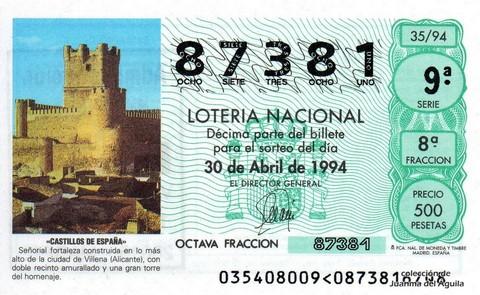 Décimo de Lotería 1994 / 35