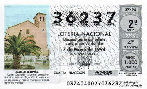Décimo de Lotería 1994 / 37