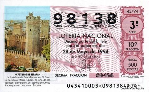 Décimo de Lotería 1994 / 43