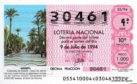 Décimo de Lotería 1994 / 55