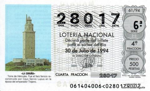Décimo de Lotería 1994 / 61