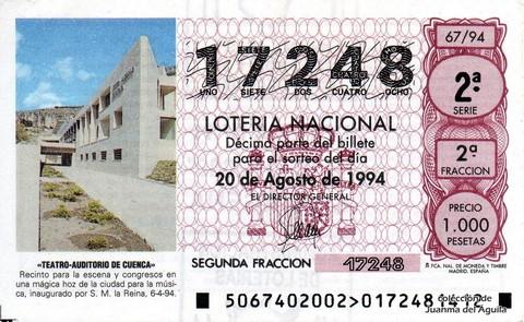 Décimo de Lotería 1994 / 67