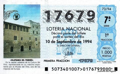 Décimo de Lotería 1994 / 73