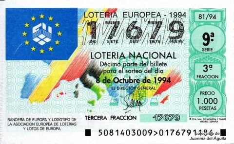 Décimo de Lotería 1994 / 81