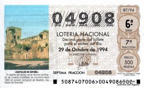 Décimo de Lotería 1994 / 87