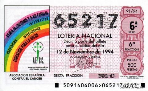 Décimo de Lotería 1994 / 91