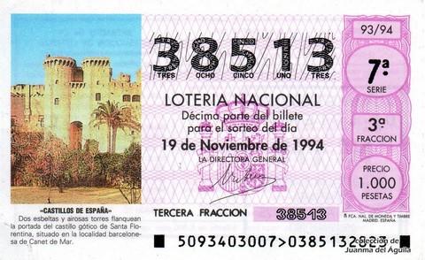 Décimo de Lotería 1994 / 93