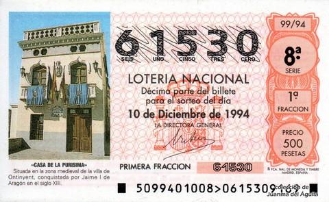Décimo de Lotería 1994 / 99