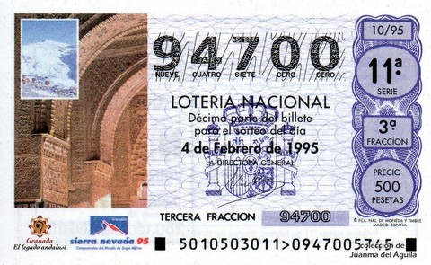 Décimo de Lotería 1995 / 10