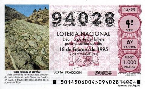 Décimo de Lotería 1995 / 14