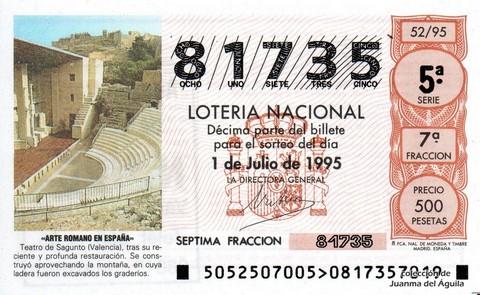 Décimo de Lotería 1995 / 52