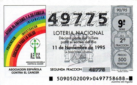 Décimo de Lotería 1995 / 90