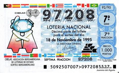 Décimo de Lotería 1995 / 92