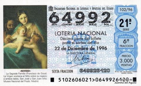 Décimo de Lotería 1996 / 102