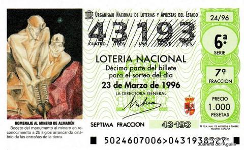 Décimo de Lotería 1996 / 24
