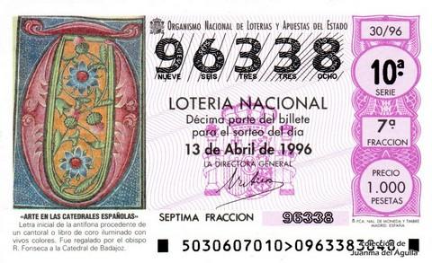 Décimo de Lotería 1996 / 30
