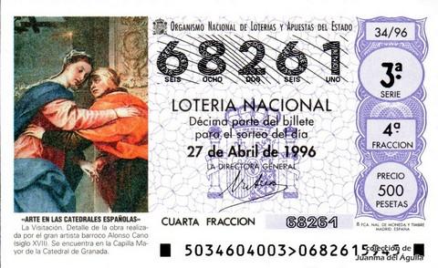 Décimo de Lotería 1996 / 34