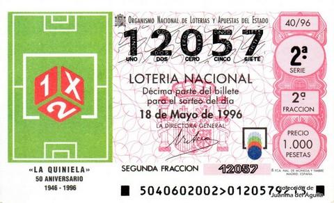 Décimo de Lotería 1996 / 40