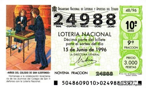Décimo de Lotería 1996 / 48