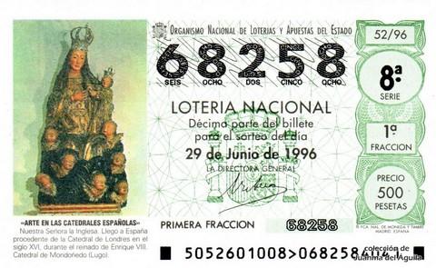 Décimo de Lotería 1996 / 52