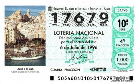 Décimo de Lotería 1996 / 54