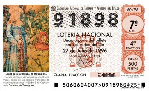 Décimo de Lotería 1996 / 60