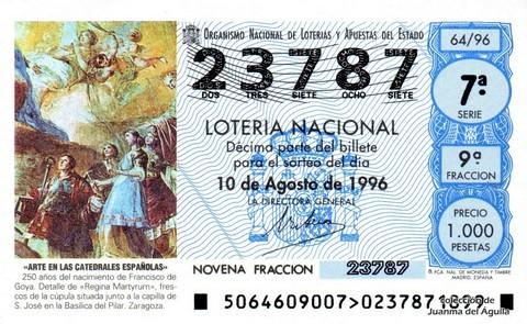 Décimo de Lotería 1996 / 64