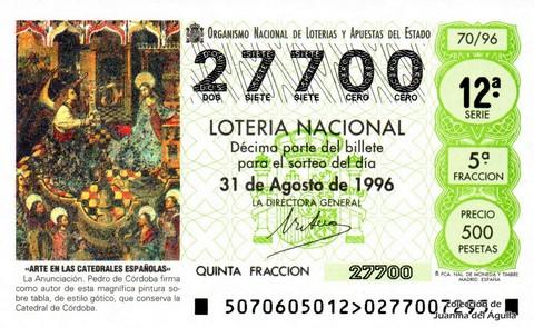 Décimo de Lotería 1996 / 70